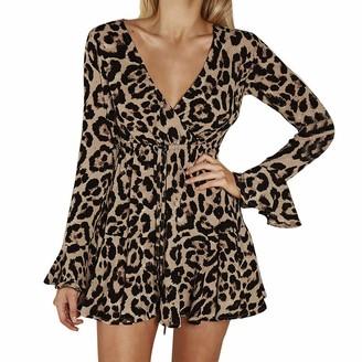 Jaminy Dress Woman Dress Jaminy Womens Sexy Fashion Flare Sleeve Bow Bandage V-Neck Leopard Print Mini Dress (Black XL)