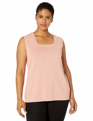 Kasper Women's Plus Size Sleeveless Square Neck Tank