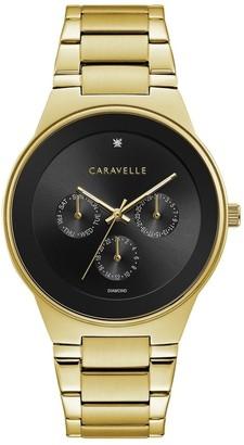 Caravelle by Bulova Mens 44D102 Gold-Tone Multifunction Black Dial Bracelet Watch
