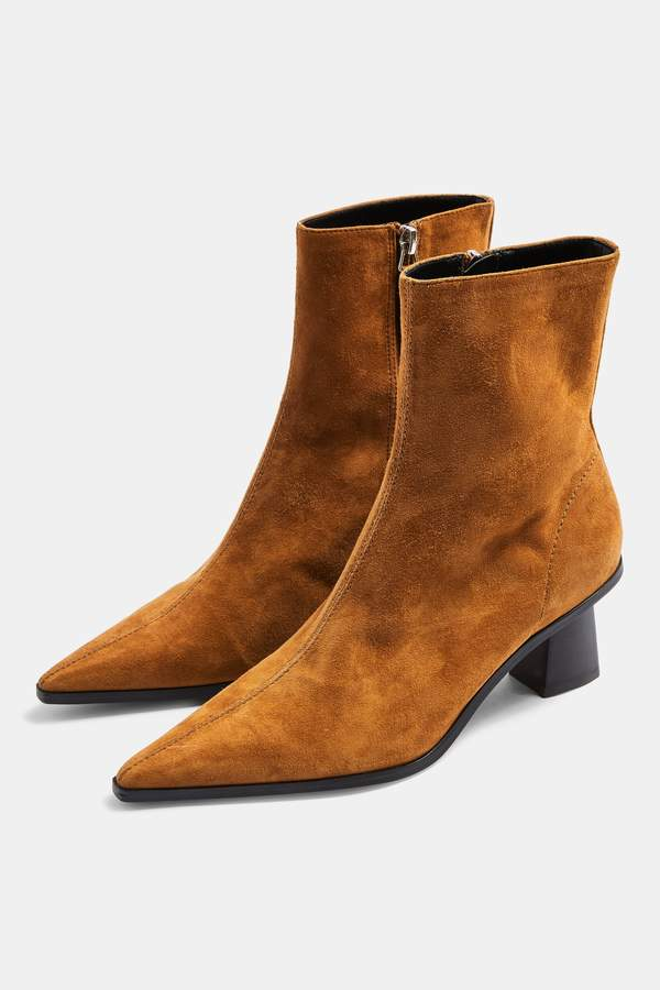 MAILE Leather Tan Point Boots