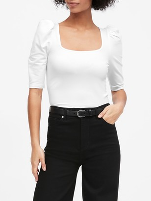 Banana Republic Square-Neck Puff-Sleeve T-Shirt