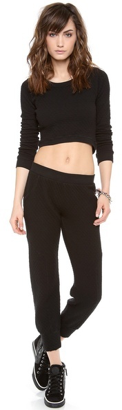 So Low SOLOW Diamond Quilted Crop Top