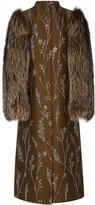 Suno fur sleeve metallic floral coat