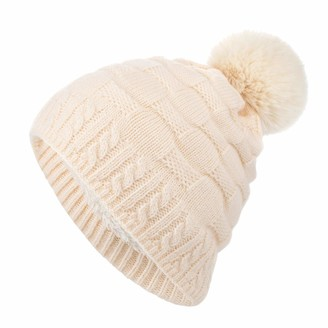 BUKINIE Winter Knit Beanie Hat Warm Thick Double Layer Wool Hats Faux Fur Plush Pom Pom Outdoor Cap for Women Ladies