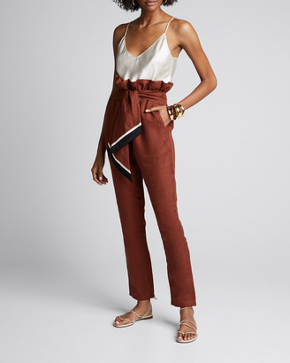 Johanna Ortiz Ambiance Linen Tie-Waist Crop Pants
