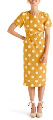 Boden Hazel Polka Dot Belted Linen Midi Dress