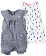 Carter's 2-Pc. Cotton Striped Romper & Palm-Print Dress Set, Baby Girls (0-24 months)
