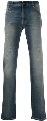 Etro embroidered panel straight jeans