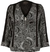 River Island Womens Black paisley print bomber jacket