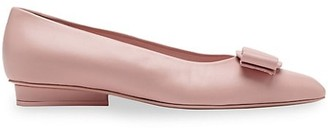 Salvatore Ferragamo Viva Bow Leather Ballerina Flats