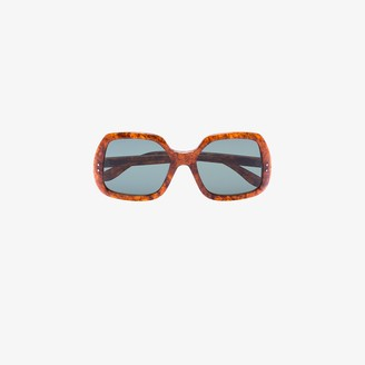Gucci Brown Tortoiseshell Oversized Square Sunglasses