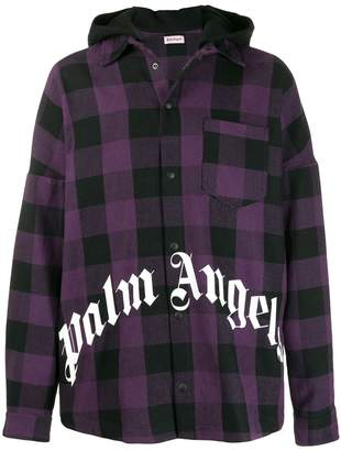 Palm Angels hooded plaid shirt jacket