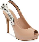GUESS Women's Harlem Slingback Platform Peep-Toe Pumps Women's Shoes