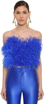 ATTICO Strapless Feather Embellished Top