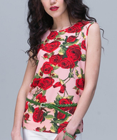 JET Pink & Red Floral Sleeveless Top