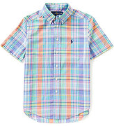 Ralph Lauren Big Boys 8-20 Madras-Plaid Short-Sleeve Woven Shirt