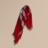 Burberry Check Wool Square - Large, Red