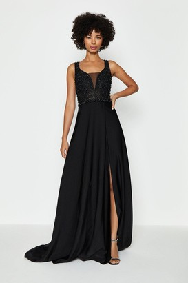 Coast Beaded Satin Maxi Dress