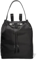 The Row Leather-trimmed Satin Backpack - Black