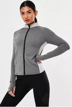 Missguided Active Gray Zip Through Jacket