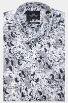 Moss London Extra Slim Fit Black & White Abstract Print Casual Shirt