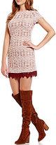 Xtraordinary Printed Sweater-Knit Point de Venise Hem Sheath Dress