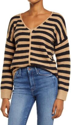 Madewell Bobble Stripe V-Neck Sweater