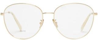 Celine Oversized Rounded Metal Glasses - Womens - Gold