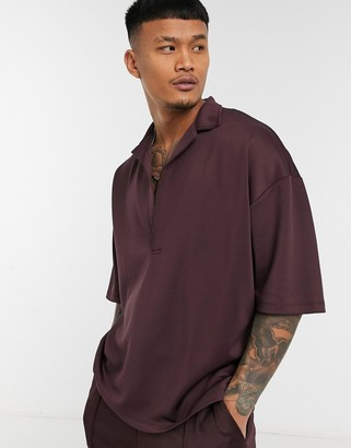 ASOS DESIGN co-ord oversized polo shirt with deep revere in brown scuba