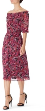 Bar III Paisley Printed Chiffon Midi Dress, Created for Macy's