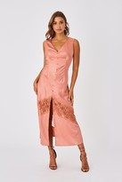 Little Mistress Ada Rose Gold Jacquard Stripe Button Detail Midi Dress