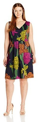 Sangria Women's Size Floral Fit and Flare Dress Plus