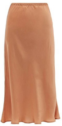 Mes Demoiselles Lola Fluted Satin Midi Skirt - Womens - Dark Pink