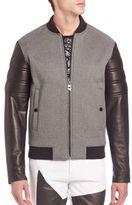 Versace Leather Multimedia Bomber Jacket