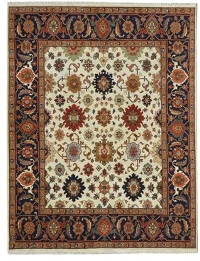 Wildon Home Oriental Hand Knotted Wool Red/Ivory Area Rug Rug Size: Rectangle 9' x 12'