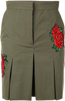 Each X Other rose embroidered khaki shorts