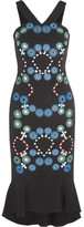 Peter Pilotto Embroidered Stretch-cady Midi Dress - Black