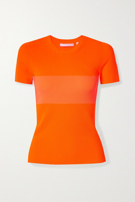 Helmut Lang Two-tone Ribbed-knit T-shirt - Orange