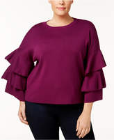 NY Collection Plus Size Ruffled Bell-Sleeve Sweater