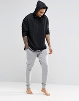 Asos Loungewear Skinny Joggers In Gray Marl With Side Stripe