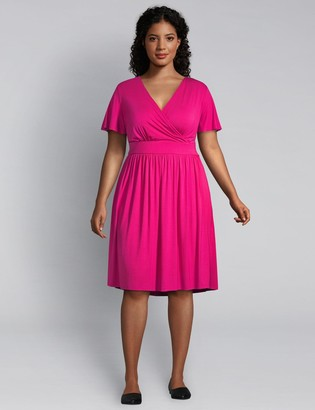 Lane Bryant Flutter-Sleeve Crossover Fit & Flare Dress