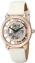 Stuhrling Original Legacy Lady Winchester Women's Automatic Watch with Rose Gold Dial Analogue Display and White Leather Strap 156.124W14