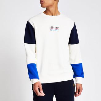 River Island Prolific stone colour block sweatshirt