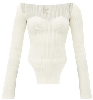 KHAITE Maddy Sweetheart-neck Ribbed-knit Top - Ivory