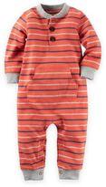 Carter's Size 12M Stripe Romper in Orange/Navy/Grey