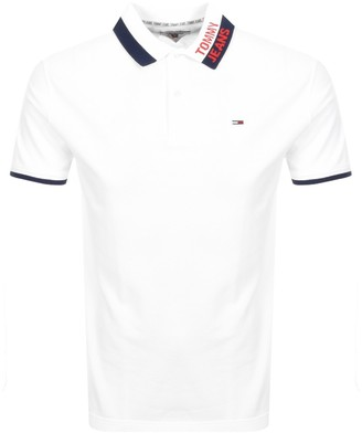 Tommy Jeans Branded Collar Polo T Shirt White