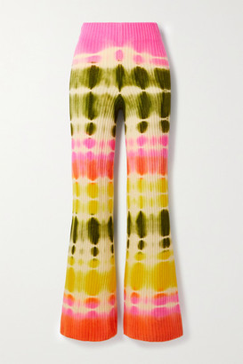 The Elder Statesman Slice Tie-dyed Ribbed Cashmere Flared Pants - Pink