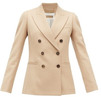 Chloé Festive Double-breasted Wool-blend Twill Jacket - Womens - Tan