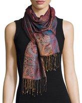Sabira Mandala Stripe & Paisley Silk Stole, Blue/Red