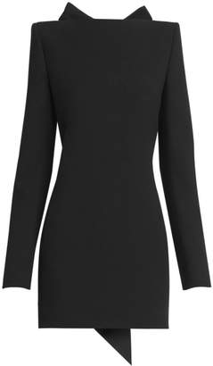 Saint Laurent Open-Back Bow Wool Mini Dress
